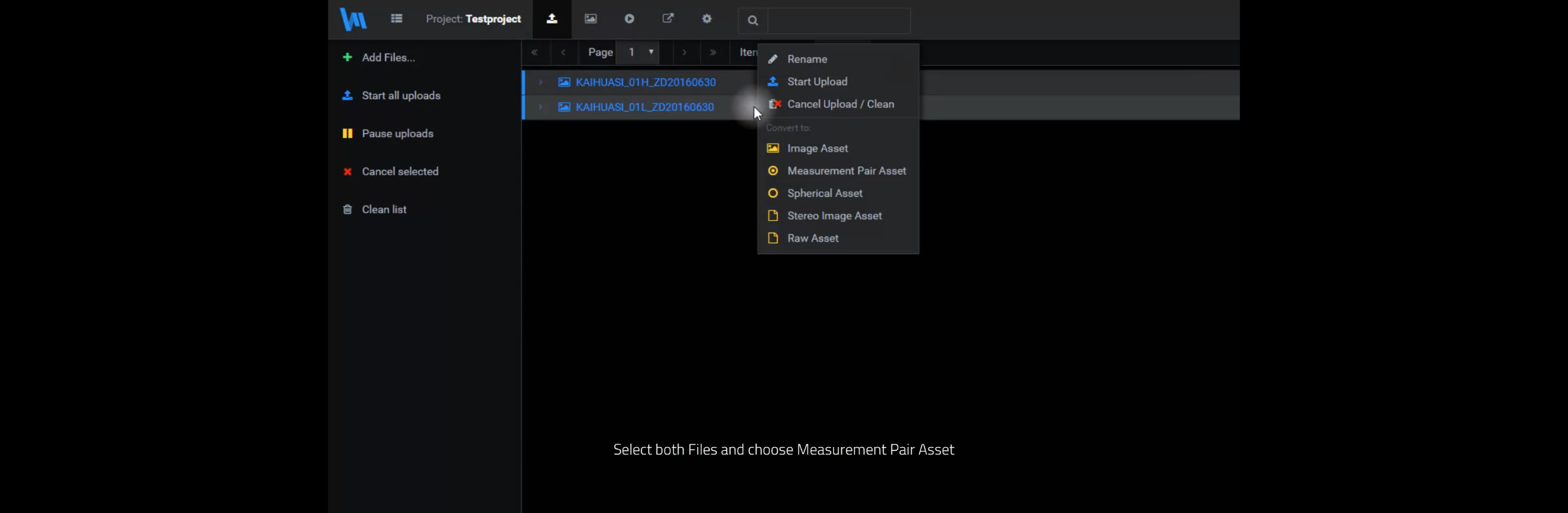 two files selected with a context menu